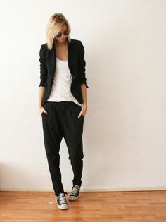 black loose pants + black Converses + white tee + black cover-up/blazer