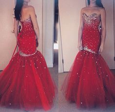 Red Jeweled Mermaid Gown