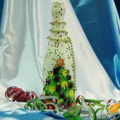 Декор бутылки шампанского своими руками на Новый год