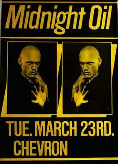 MIDNIGHT OIL - 23 Mar 1982 - Club Chevron, Melbourne, VIC (Australia) CONCERT POSTER 80 Bands, Music Bands, Concert Posters, Music Posters, Music Tours, Rock Artists, Tour Posters, Vic Australia, Best Rock
