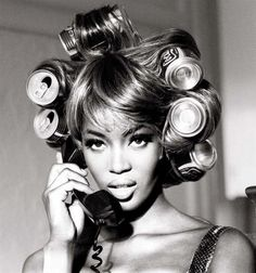 Naomi Campbell by Ellen Von Unwerth (with Coke cans in her hair)