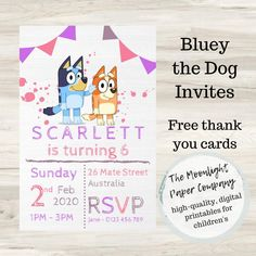 Throw your child their dream birthday party by making Bluey themed - starting with the invitations! Bluey is the cartoon taking Australia by storm and a Bluey party is sure to be a hit with children and parents alike. Dog Birthday, Birthday Parties, Paper Companies, Personalized Labels, Papers Co, Birthday Invitations, Party Planning, Thank You Cards, Your Cards