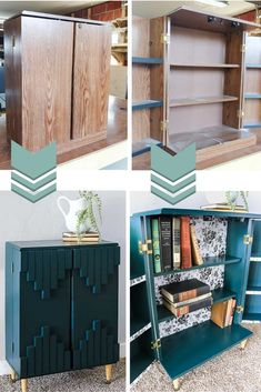Master Bedroom Decorating Concepts - DIY Crown Molding Set Up These Before And After Pictures Of This Thrift Store Upcycle Project Are Awesome She Bought This Cabinet For 3 And Turns It Into A Modern Boho Bookcase With Tribal Accents On The Front Doors Upcycle Decor, Thrift Store Upcycle, Laminate Cabinets, Store Decor, Furniture Makeover Diy, Diy Home Decor, Furniture Hacks, Diy Furniture, Redo Furniture