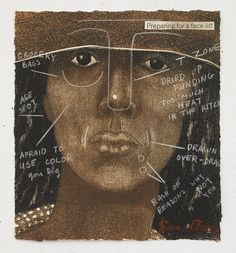 <p>Emma Amos (American, born 1938). <em>Preparing for a Face Lift</em>, 1981. Etching and crayon, 8<sup>1</sup>/<sub>4</sub> × 7<sup>3</sup>/<sub>4</sub> in. (21 × 19.7 cm). Courtesy of Emma Amos. © Emma Amos; courtesy of the artist and RYAN LEE, New York. Licensed by VAGA, New York</p>