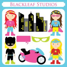 Super Girls Heroine - kiddy super heroes, girl heroine, little hero, superwoman, super bike, batwoman - Personal and Commercial Use Clip Art