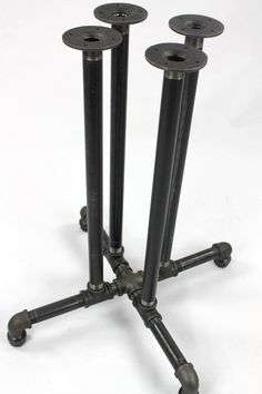 Black Pipe Complete Table Frame DIY Parts Kit, 1 Black Pipe pedestal table frame, PUB TABLE, Bar Table Base X Tall vertical pipes centered Pedestal Pub table frame. Custom pipe sizes offered in and (limited stock item). Free quotes for custom Pipe Leg Table, Diy Table Legs, Pipe Furniture, Industrial Furniture, Furniture Ideas, Furniture Design, Furniture Vintage, Garden Furniture, Decor Vintage