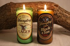 Beer Bottle Candle from Upcycled Yuengling by CountryRichCreations