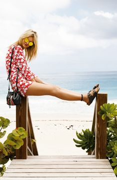 This breezy summer look is finished off with a cool pair of black suede Birkenstocks.