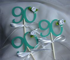 90th Birthday   12 Cupcake Toppers by ThePaperLot on Etsy, $18.00