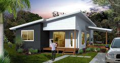 Imagine Kit Homes - Erbacher 301 Kit Home Steel Frame House, Steel House, Open Living Area, Open Plan Living, Prefab Homes, Modular Homes, Cladding Materials, Roofing Options, Home Design Floor Plans