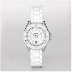 Fossil Women's ES2932 White Rubber Quartz Watch with White Dial Fossil. $84.50. Purple Plastic Strap. Date