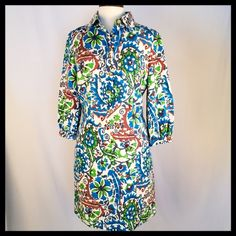 """NWOT! ETCETERA Tunic Dress Linen/Silk 8 CLEARANCE!!! ETCETERA Floral Tunic Dress NEW WITHOUT TAGS!  Retail $295 •Size 8 •70%Linen/30% Silk •Unlined •Cream background with Blue, Green,Brown Floral Pattern •Collared •3/4 Sleeve with elastic •Side Zipper & 6 Gold Buttons •2 Hidden Side Pockets  MEASUREMENTS: Bust-42"""" Shoulder-15.5"""" Sleeve-19"""" Waist-37"""" Hip-42"""" Length-35"""" Etcetera Dresses"""