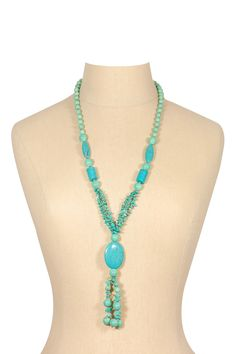 70's__Vintage__Turquoise Tassel Necklace