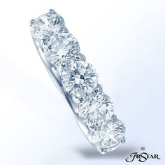 JB Star Diamond Band handcrafted with 5 perfectly matched round diamonds in shared-prong setting. Platinum.