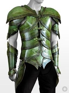 Elf Leather Armor leaf green Handcrafted, genuine leather LARP armor
