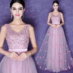 Wholesale v neck purple rose pink elegant sequin long prom dress From m.alibaba.com