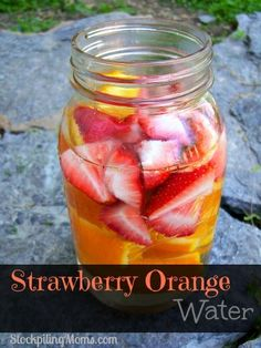 Strawberry Orange Water recipe is so good for you and tastes great too! Enjoy this healthy beverage on a hot summer day. #weightlossmotivation