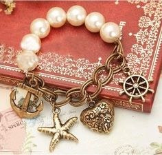 Vintage Heart And Helm And Anchor Pearl Charm Bracelet Charm Jewelry, Jewelry Crafts, Beaded Jewelry, Handmade Jewelry, Jewellery, Fashion Bracelets, Jewelry Bracelets, Fashion Jewelry, Chain Bracelets