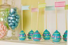 Egg shaped cake pops for Easter