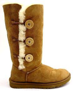 41adfa94428 Details about UGG Australia Womens Bailey Button Triplet II Chestnut Suede  Fur Boots Size 7