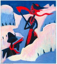 Strega e Spaventapasseri nella neve, olio su tela di Ernst Ludwig Kirchner (1880-1938, Germany)