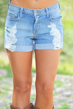 Sweet Surprises Distressed Denim Shorts from Closet Candy Boutique