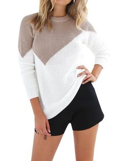 Makkrom Womens Knit Pullover Sweaters Color Block Fall Cable Sweater Jumper     Read more reviews of the product by visiting the link on the image. 7deb59f65