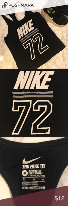 """Nike Varsity 72 Graphic Tank Top Product Details Stay fashionably sporty with this women's Nike tank.  PRODUCT FEATURES Scoopneck Racerback design offers a full range of motion Sporty """"Nike 72"""" graphic print  FIT & SIZING Silhouette is cut close to the body for a flattering fit Nike Tops Tank Tops"""