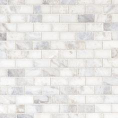 Carrara White Brick Marble Mosaic - 12 x 12 - 931100789 Marble Mosaic, Carrara Marble, Kitchen Backsplash, Backsplash Ideas, White Brick Backsplash, Marble Tile Backsplash, Backsplash Panels, Kitchen Flooring, Decorative Tile