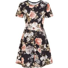 f952912ecc76c0 Black Floral Print Box Pleat Skater Dress (£20) ❤ liked on Polyvore  featuring