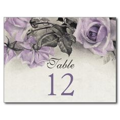 Sterling Silver Purple Rose Wedding Table Cards Post Cards