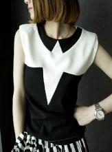 Black White Geometric Panel Pad Shoulder Sleeveless Shirt $29.00