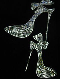 Rhinestone High Heel Shoes Iron on Transfer