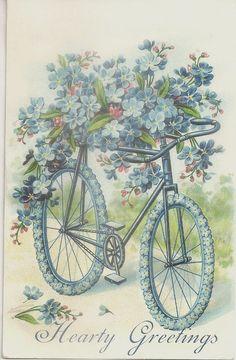 1906 Hearty Greetings Embossed Postcard Blue Bike Flowers Memphis TN | eBay