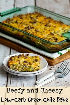 Beefy and cheesy low-carb green chile bake is a low-carb and gluten-free casserole the whole family will enjoy. and if you're focused on carb-conscious Casserole Recipes, Meat Recipes, Mexican Food Recipes, Low Carb Recipes, Cooking Recipes, Healthy Recipes, Casserole Ideas, Keto Casserole, Brocolli Casserole