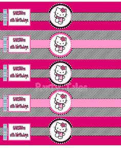 Printable Hello kitty WATER BOTTLE labels