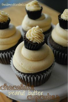"""Could use for multiple recipes! Chocolate Peanut Butter Cupcakes are moist chocolate cupcakes topped with a luscious peanut butter frosting and adorned with a cute PB cup """"cupcake"""" topper! Chocolate Peanut Butter Cupcakes, Peanut Butter Frosting, Whipped Cream Frosting, Nutter Butter, Chocolate Muffins, Chocolate Frosting, Cupcake Recipes, Cupcake Cakes, Dessert Recipes"""