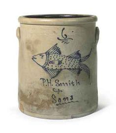 A SIX GALLON STRAIGHT SIDED COBALT-DECORATED STONEWARE CROCK WITH FISH DESIGN  ATTRIBUTED TO SMITH & SONS, AKRON, OHIO, SECOND HALF 19TH CENTURYhttp://www.christies.com/
