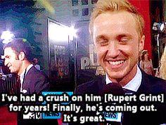 Tom Felton on Rupert Grint. Awe ahaha
