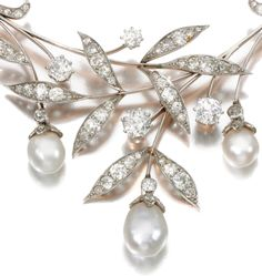 Diamonds in the Library: Art Nouveau pearl and diamond necklace.