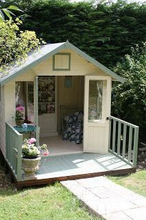 Lovely and Cute Garden Shed Design ideas for Backyard Part 29 ; garden shed ideas; garden shed organization; garden shed interiors; garden shed plans; garden shed diy; garden shed ideas exterior; garden shed colours; garden shed design Garden Shed Diy, Backyard Sheds, Outdoor Sheds, Backyard Retreat, Garden Cottage, Garden Playhouse, Girls Playhouse, Garden Houses, Summer House Interiors