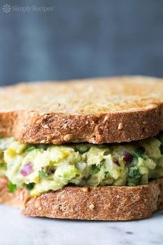 Healthy and easy! Avocado Tuna Salad with avocado, canned tuna, red onion, celery, and NO mayo. On SimplyRecipes.com
