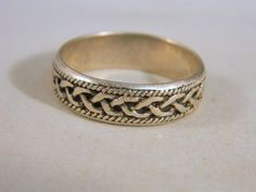 Vintage Sterling Silver Mens Ring / Mens Braided Rope Southwestern Style Ring / Mod Ring Size 11 by VintageBaublesnBits on Etsy