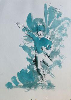 WEREWOLF Original Ink Drawing ART Portrait by CyranoArtGallery