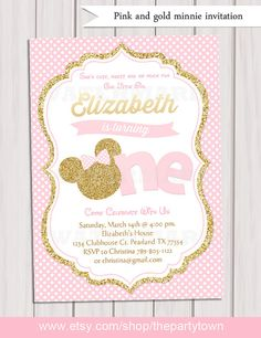 Editable Minnie Mouse First Birthday Party Invitation, Pink and Gold Birthday, Gold Glitter, Polka Dot invite, Girl Printable Invitation ------------ ♥ Minnie Mouse First Birthday, Minnie Mouse Pink, Minnie Mouse Party, Girl First Birthday, First Birthday Parties, First Birthdays, Diy Birthday, Gold Birthday, Birthday Ideas