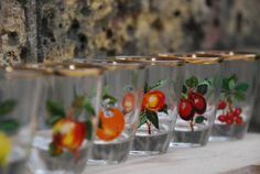 Set of 6 vintage shot glasses with fruit motif by lostfoundremade