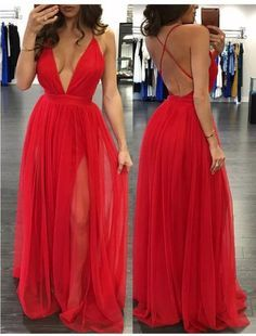 Simple v neck chiffon red long prom dress, cute red evening dress, backless formal dress