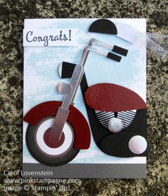 Congratulations Motorcycle Punch Art;  Inspired by Vilita's Fun Folds version then I modified and added to it using a pic of my brother's motorcycle; Design by Carol Lovenstein  www.pinkstampagne.com;  Stampin' Up! Card Idea