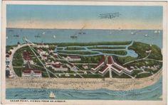 Cedar Point Ohio Postcard, Cedar Point Viewed From An Airship c.1930