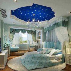 quarto em tons de azul